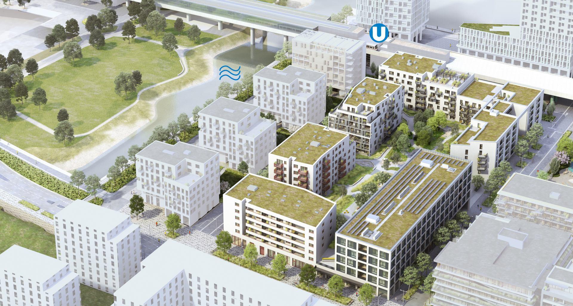 Luftbild vom Areal Wohnen & Gewerbehof